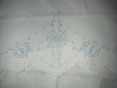 Vintage Hand Embroidered White Cotton Baby Boudoir Pillow Cover Pink & Blue