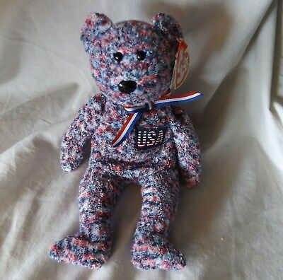 Ty Beanie Babie USA Patriotic Liberty Red White Blue Striped 2000 Animal Bear