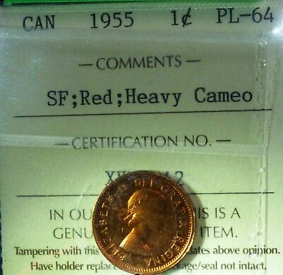 1955 Canada One Cent Red Shoulder Fold Heavy Cameo  Beautiful Grade 64 P L