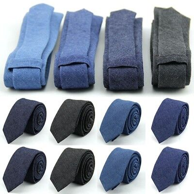 Men's Cotton Skinny Slim Ties Suit Tie Solid Necktie Formal Business Bowtie Lot
