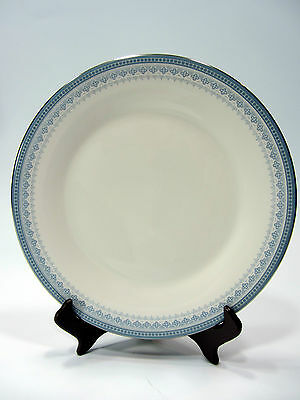 "Royal Doulton China Salad Plate 8"" Lorraine H5033 White Blue Silver Rim"
