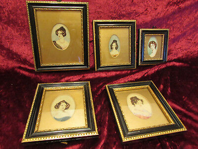 Antique Signed Mini Portrait Painting Collection 1790-1815 Original Ivory Framed
