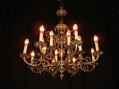 Vintage French bronze chandelier with 8 arms, 16 lights France