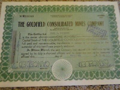 The Goldfield Consolidated Mines Company Stock Certificate-100 Shares