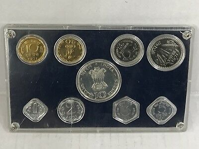 1971 Republic of India Proof Set (Cracked Plastic) Case I. G. Mint Bombay