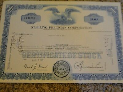 Sterling Precision Corporation Stock Certificate-100 Shares