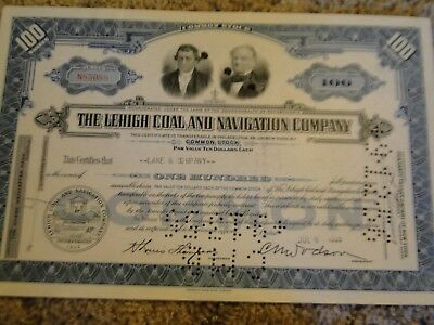 The Lehigh Coal and Navgation Company Stock Certificate-100 Shares