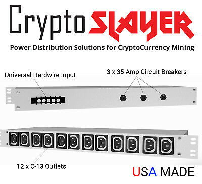 CryptoSlayer AC PDU Designed for Mining 87 Amps 3 Phase 208V or 415V 5 Wire