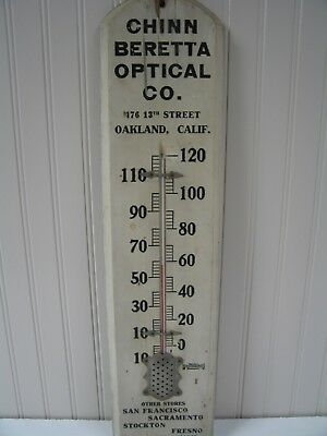 Vintage Chinn Beretta Optical Advertising Thermometer w/Business Card Oakland CA