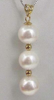 AAA 9-10 mm round south sea natural White pearl pendant necklace 14k