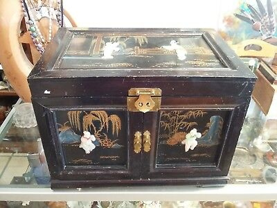 Vintage Asian Chinese Oriental Wooden Jade Inlay Jewelry Trinket Music Box
