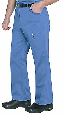 "Landau Men's Style 2026 Cargo Zippered Scrub Pant in ""Ciel"" Size XL"