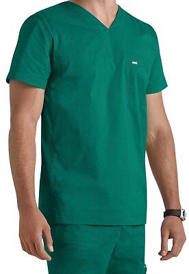 "Landau Men's Style 4127 V-Neck Ripstop Scrub Top in ""Hunter"" Size M"