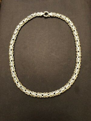 "Stunning Lg THICK Solid STERLING SILVER BYZANTINE 22"" NECKLACE ITALY 11mm! 141+g"