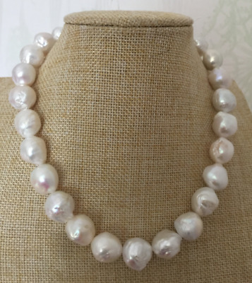 f86ee13154e6c GORGEOUS 12-13MM SOUTH sea baroque white pearl necklace 18inch 14k