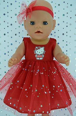 """Play n Wear Doll Clothes To Fit 17"""" Baby Born  RED SEQUIN DRESS~HEADBAND"""