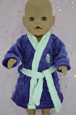 """Play n Wear Doll Clothes To Fit 17"""" Baby Born PURPLE MINKY DRESSING GOWN"""