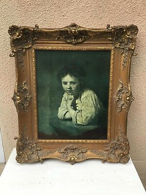 Beautiful Vintage French Gold Gilt Frame Rembrandt Girl At The