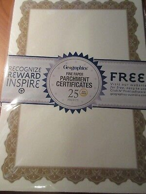 Geographics Fine parchment Certificates 25 sheets Optima Gold free postage