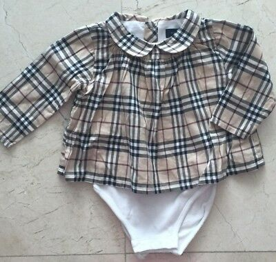 Shirt ✽ long sleeves Nova Check Burberry white 3 months unisex with body
