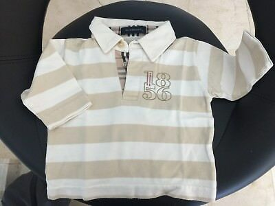 Polo ❃ Burberry stripped beige Cream nova check 0 / 3 months long sleeves