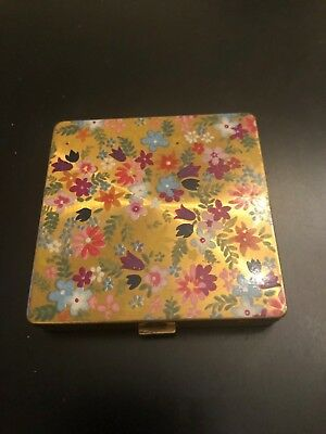 1950s Vintage Vogue Vanities Compact made in England Gold multi color flowers