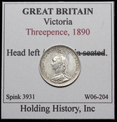 GREAT BRITAIN. Queen Victoria Silver Threepence (3 Pence), 1890, Nice grade