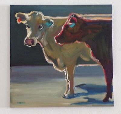 "Cow  Wall  Art  Original  Canvas  By  Diane  Whitehead  - 20"" X 20"""