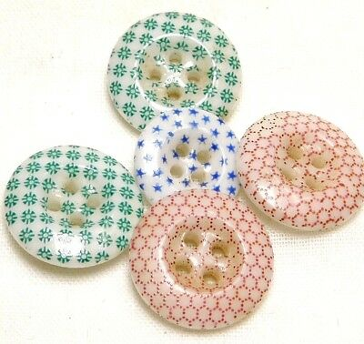 5 Antique CHINA CALICO Buttons PINK GREEN BLUE