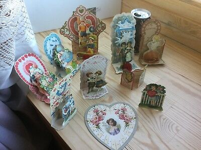 vintage antique Germany 10- old Valentines---all ,but one are stand-ups