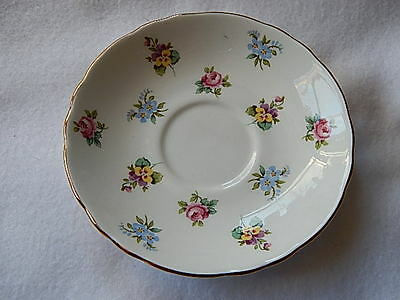 """Vintage Staffordshire Fine Bone China """"Bouquet"""" Saucer Only-REPLACEMENT"""