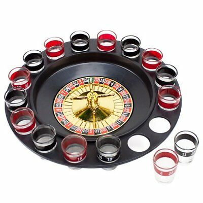 Brewski Brothers Roulette Drinking Game, 16 Black & Red Shot Glasses
