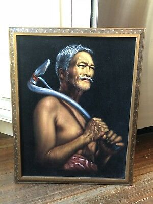 Original EDGAR LEETEG FATHER OF BLACK VELVET ART OIL PAINTING TAHITI NUDE