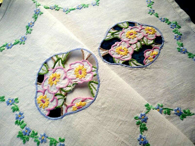 Stunning Briar Roses & forgetmenots~Vintage Lge Hand Embroidered Centrepiece/mat