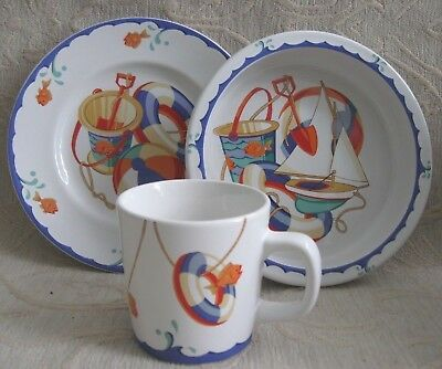 TIFFANY & Co. 3 pce Childs feeding SET, MUG, BOWL, SIDE PLATE Tiffany SEASHORE