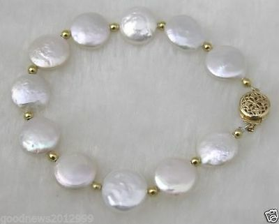 Natural 13-14Mm Coin South Sea Genuine White Pearl Bracelet 14K Gold Clasp