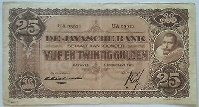 Netherlands Indies 25 Gulden 5 Februar 1929 Javasche Bank Serial Number UA 03921