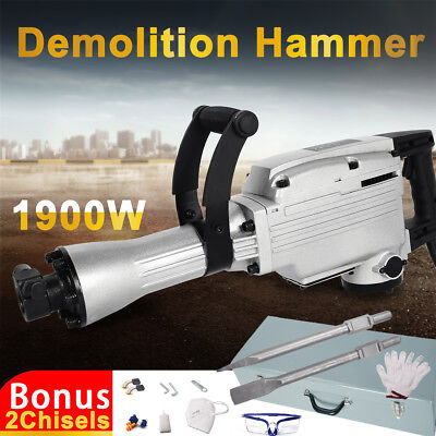 1300W Demolition Hammer Jack Hammer Commercial Concrete Electric Drill 2 Chisels