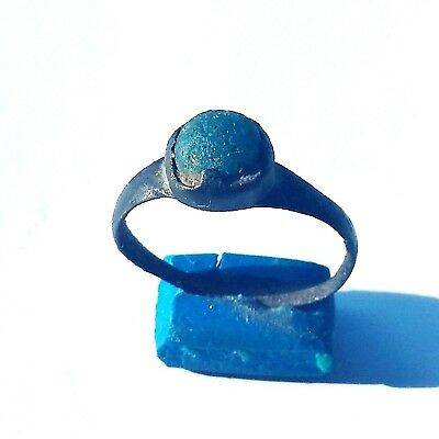 ANCIENT ROMAN BRONZE RING with   BLUE STONE