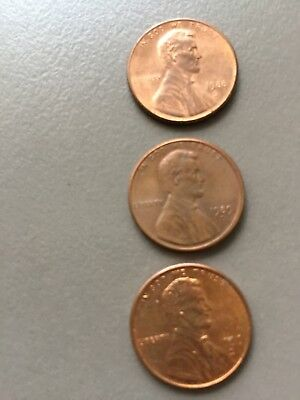 AMERICAN ONE CENT COINs x 3 1988, 1989, 1999