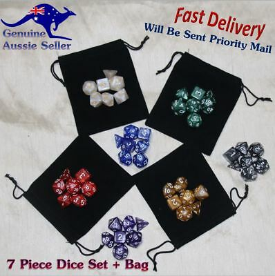 Dungeons and Dragons Dice Set DnD Polyhedral Dice for RPG Games Pearl Dice + Bag