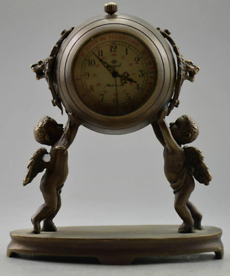 Collection old bronze useable Angel raised the 2 lion head clock statue