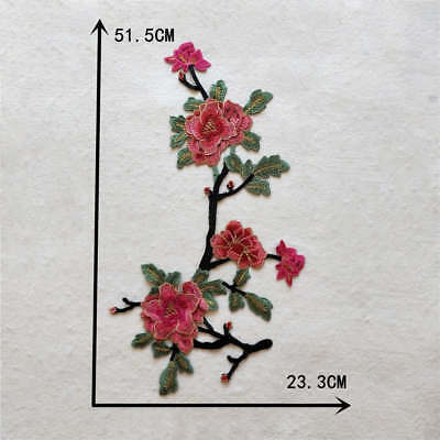 Red Floral DIY Fashion Collar Lace Embroidered Patch Applique YL926