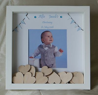 Personalised Christening Baby Boy Gift Drop Box Guest Book Photo naming day