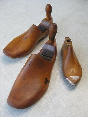 3 Vintage Antique Shabby Chic Decor Wooden Shoe Boot Mold, Adult and Child Forms