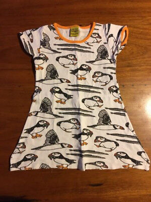 DUNS of Sweden, organic cotton, puffin dress. Size 98 (Size 3 )