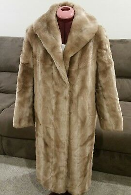 Stunning Vintage Full Length Faux Fur Coat Size 14 in excellent condition
