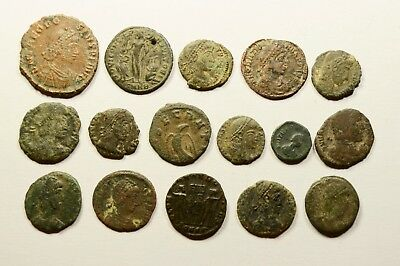 Lot Of 16 Imperial Roman Bronze Coins For Identifying - 027