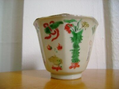 Old Chinese Hand Painted Porcelain Hexagonol Cup, Kangxi Lingzhi Fungus Mark .