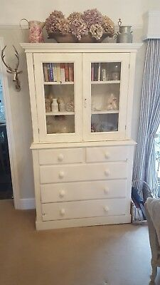 Beautiful Victorian Painted Glazed Bookcase/display cabinet/ drawers/ linen